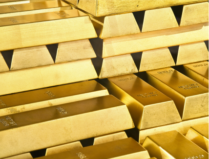 Close up view of stacks of gold bullion bars