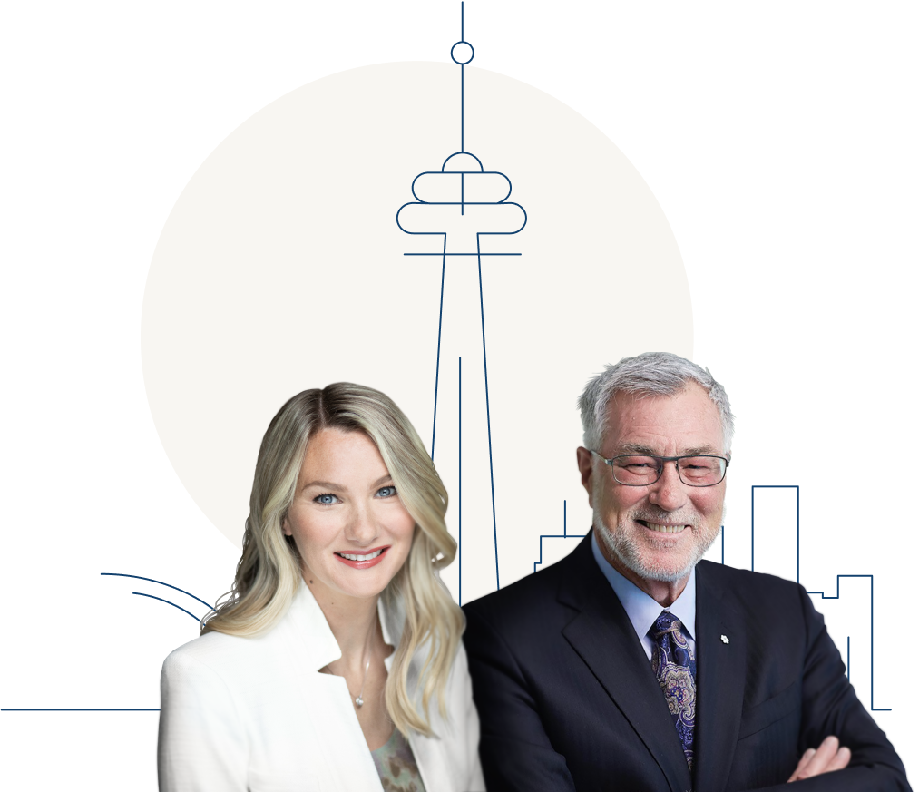 Eric and Larisa Sprott with a cartoon image of Toronto in the background